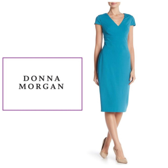 db25d883 Donna Morgan Dresses | Teal Sheath Dress Cap Sleeve Sz 10 | Poshmark